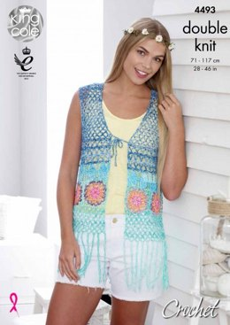 Waistcoat and Kimono Style Cardigan in King Cole Vogue DK - 4493