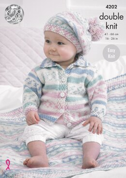 Babies' Cardigan, Blanket and Beret in King Cole Cherish DK - 4202 - Downloadable PDF