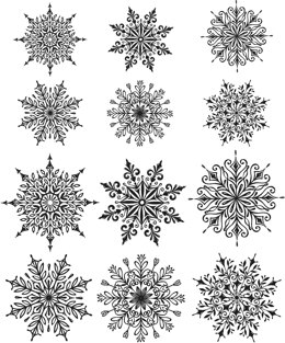 "Stampers Anonymous Tim Holtz Cling Stamps 7""X8.5"" - Mini Swirley Snowflakes"