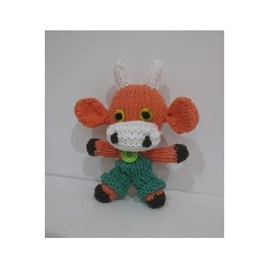 Mini Knitkinz Coral Cow