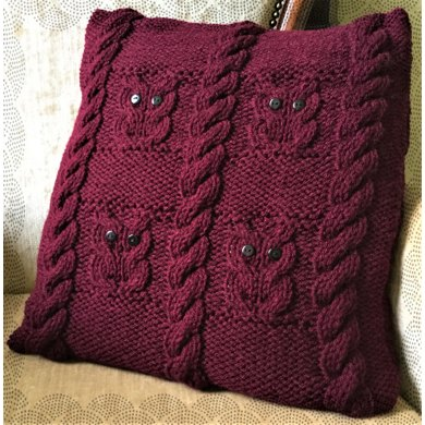 Owls And Cables Cushion Knitting Pattern By The Lonely Sea Heather C