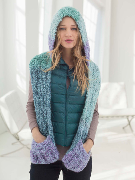 Hooded Scarf With Pockets In Lion Brand Homespun Thick