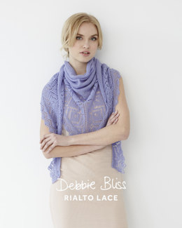 Lace Edged Shawl - Knitting Pattern For Women in Debbie Bliss Rialto Lace