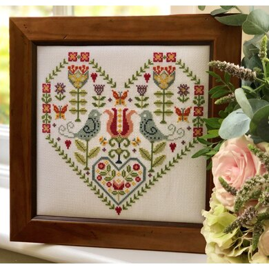 Historical Sampler Company Scandi Heart Sampler - 21cm x 21cm
