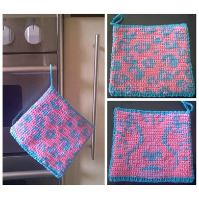 Crochet Pattern for a Funky Leopard inspired Pot Holder