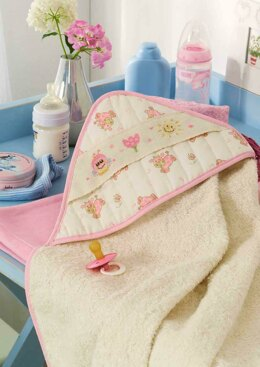 Friends Are Forever  - Cute Pink Bee Bib Bath Towel with Hood in Anchor - Downloadable PDF