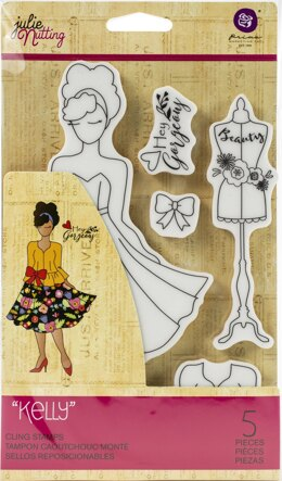 Prima Marketing Julie Nutting Mixed Media Cling Rubber Stamp - Kelly