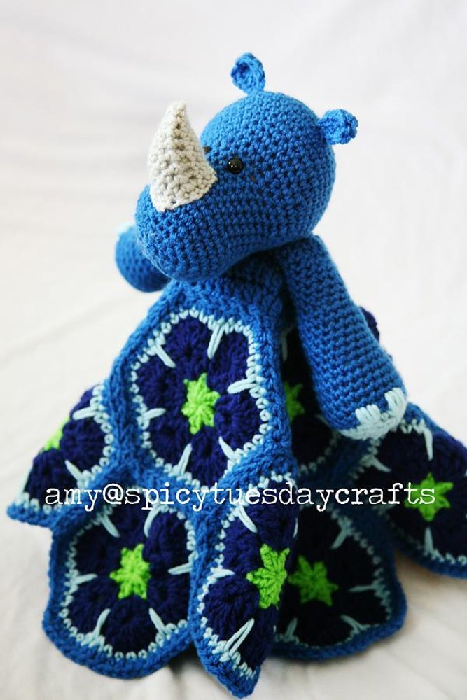African Rhino Blanket Buddy Crochet pattern by Spicy Tuesday