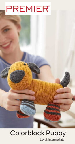 Colorblock Puppy in Premier Yarns Ever Soft - Downloadable PDF