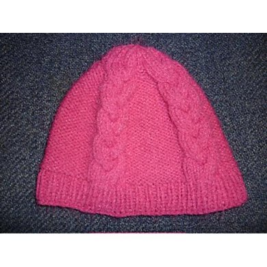 Four Braided-Cable Beanie--Knit Flat
