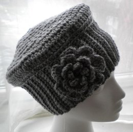 Cloche Hat with Flower- Crochet