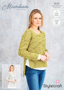 Crochet Jumper & Cardigan in Stylecraft Moonbeam - 9628 - Downloadable PDF