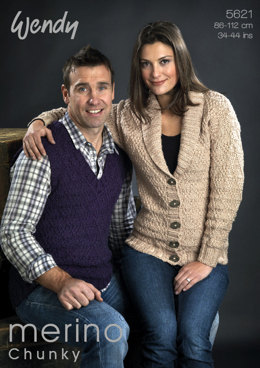 Unisex Jacket and Tank in Wendy Merino Chunky - 5621