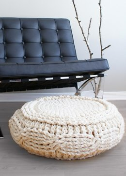 Crochet Cable Footstool Cover for Ikea's Alseda Footstool
