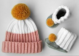 Vaughn Ribbed Hat and Bootie Slipper Set