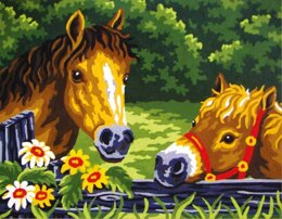 Collection D'Art Ponies at the Fence Tapestry Kit - Multi