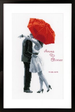 Vervaco Under my Red Umbrella Cross Stitch Kit - 20cm x 31cm