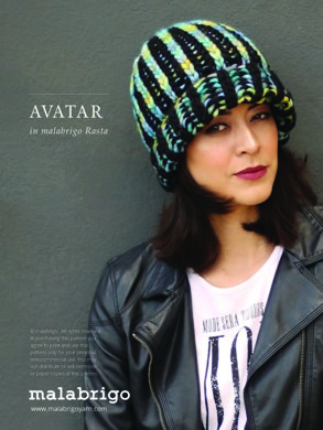 Avatar Hat in Malabrigo Rasta - Downloadable PDF