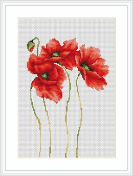 Luca-S 4 Poppies Cross Stitch Kit - 15cm x 22cm