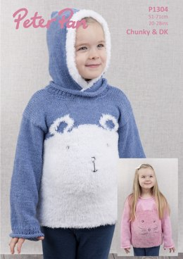 Cat & Polar Bear Sweater in Peter Pan Precious Chunky and Peter Pan DK - P1304 - Downloadable PDF