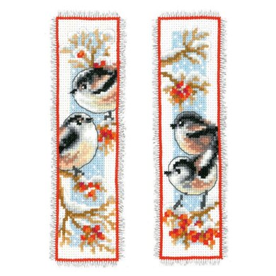 Vervaco Long-tailed Tits & Red Berry Bookmark Cross Stitch Kit (2 pcs) - 6cm x 20cm