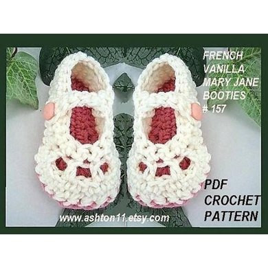 French Vanilla Mary Jane Booties | Crochet Pattern 157