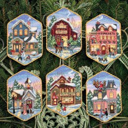 Dimensions Christmas Village Ornaments(Set of 6) Cross Stitch Kit - 13cm