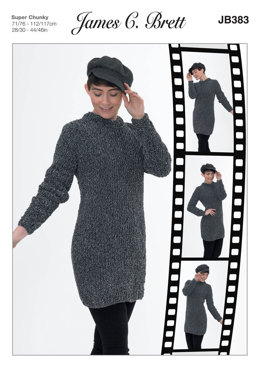Sweater Dress in James C. Brett Flutterby Animal Prints Super Chunky - JB383