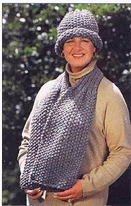 Seaman's Scarf & Vintage Look Hatin Lion Brand Wool-Ease Thick & Quick - 917