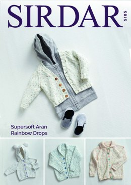 Cardigans in Sirdar Supersoft Aran Rainbow Drops - 5185 - Downloadable PDF