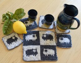 Sheep Coasters and Table Mat