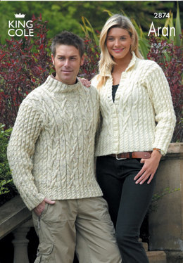 Sweater and Jacket Knitted in King Cole Fashion Aran - 2874