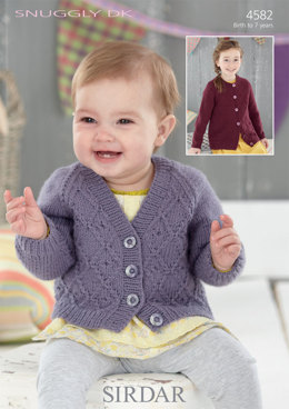 V Neck and Round Neck Cardigans in Sirdar Snuggly DK - 4582 - Downloadable PDF