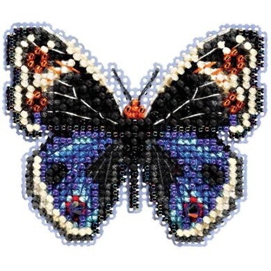 Mill Hill Blue Pansy Butterfly Cross Stitch Kit - 2.75in x 2.25in