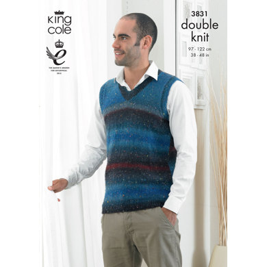 Waistcoat and Slipover In King Cole Country Tweed DK - 3831