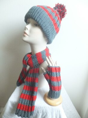 Classic Bobble Hat, Scarf and Fingerless Mittens