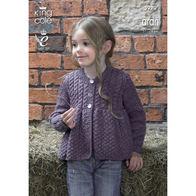 Cardigans in King Cole Big Value Aran - 3979