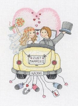 Anchor Just Married Wedding Sampler Cross Stitch Kit - 18cm x 23.5cm