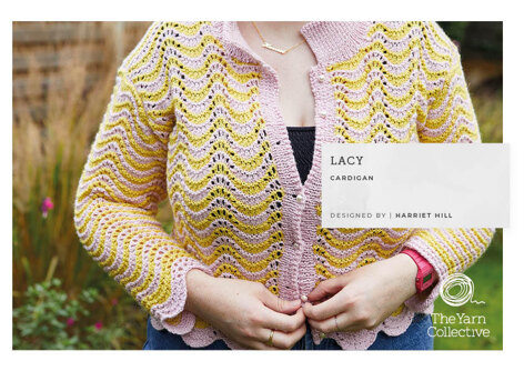 Lacy Cardigan -  Cardigan Knitting Pattern For Women in The Yarn Collective Rivoli Sport by Harriet Hill