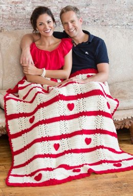 Be My Valentine Throw in Red Heart With Love Solids - LW3240
