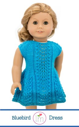 Bluebird Dress for 18 inch dolls, Doll Clothes Knitting pattern