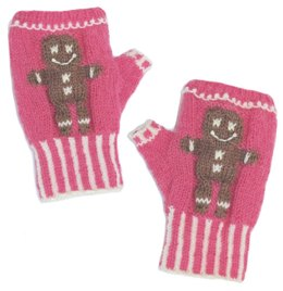 Gingerbread fingerless mitts
