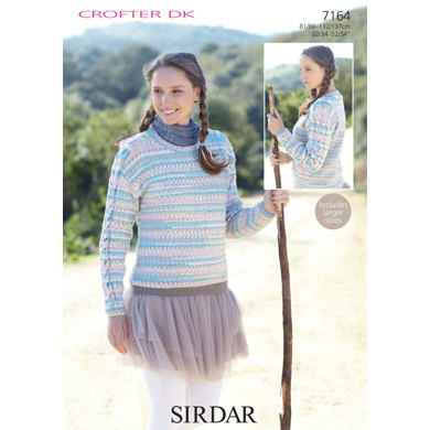 Sirdar Knitting Pattern Help : Ladies Sweater in Sirdar Crofter DK - 7164 - Downloadable PDF