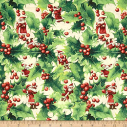 Free Spirit Winter Miracle Cut to Length - Holly Santa Berry