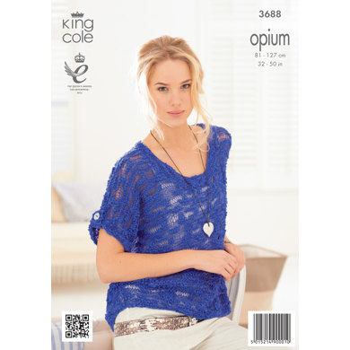 Womens' Boat Neck Tops in King Cole Opium - 3688