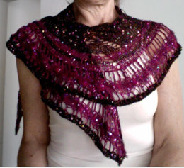 Gold and Silver Shawl in Artyarns Beaded Silk and Sequins Light - P138
