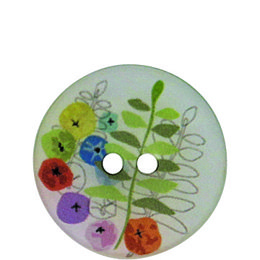 Fern and Flower Polyester 23mm 2-Hole Button