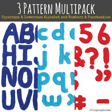 3 Pattern Multipack: Uppercase Alphabet, Lowercase Alphabet, and Number & Punctuation Motif Patterns