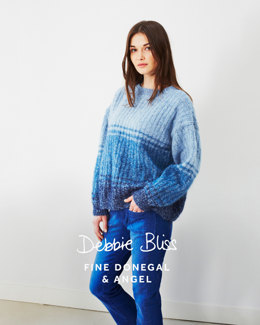 Tonal Stripe Sweater in Debbie Bliss Fine Donegal And Angel - DB026