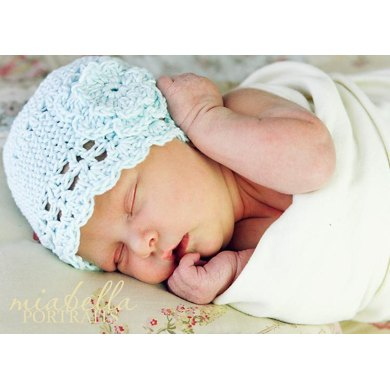 Baby Flapper Beanie with Flower